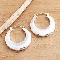Sterling silver hoop earrings, 'Plain and Curvy' - Balinese High Polish Sterling Silver Hoop Earrings