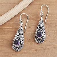 Amethyst dangle earrings, 'Bamboo Garden' - Bamboo Motif Dangle Earrings with Amethyst