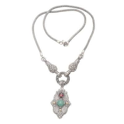 Hand Crafted 3 Carat Amazonite and Silver Pendant Necklace