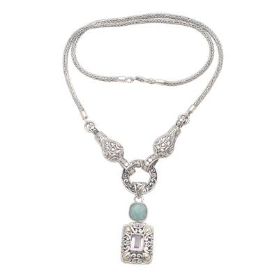 Amazonite and Amethyst Pendant Y-Necklace Gold Plated Accent