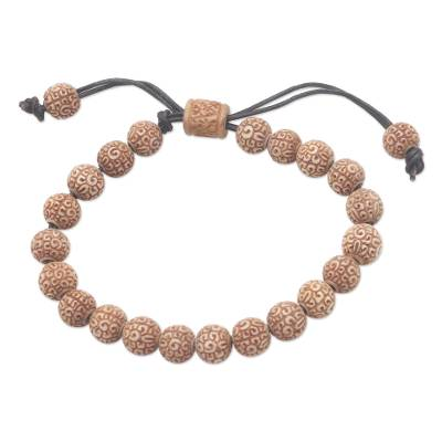 Beaded bracelet, 'Chakra Beauty' - Handmade Beaded Cow Bone Bracelet from Bali