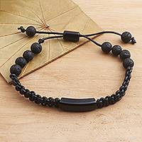 Buffalo horn and lava stone beaded bracelet, 'Midnight Protection'