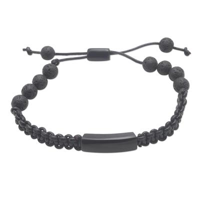 Buffalo horn and lava stone beaded bracelet, 'Midnight Protection' - Hand Made Buffalo Horn and Lava Stone Beaded Bracelet