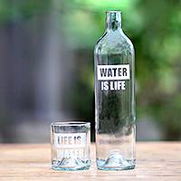 Upcycled glass carafe set 'Water is Life'  - Upcycled Bottle Carafe and Glass Set Crafted in Bali