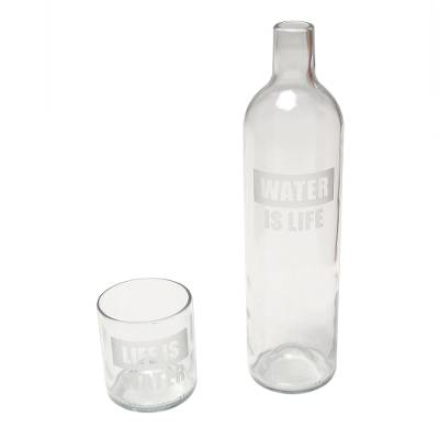 Upcycled Bottle Carafe and Glass Set Crafted in Bali
