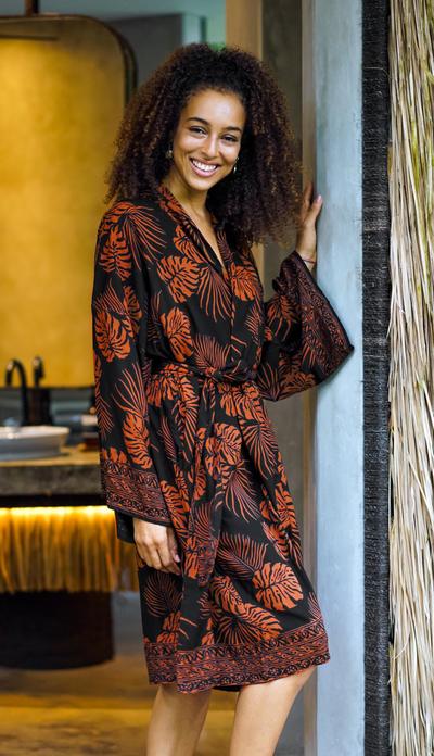 Short rayon batik robe, 'Tropical Leaves' - Handmade Batik Printed Rayon Robe