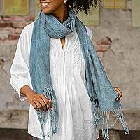 Natural indigo dyed cotton shawl, 'Morning Indigo' - Light Indigo Hand Spun and Woven Cotton Shawl