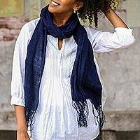 Hand woven cotton shawl, 'Midnight Indigo' - Hand Woven All Cotton Shawl in Dark Indigo