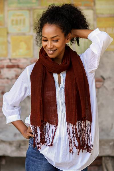 Hand woven cotton shawl, 'Ceriops Royal Rust' - Dark Rust Hand Spun and Woven Cotton Shawl