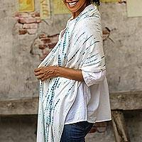Natural dyes hand woven rayon shawl, 'Tropical Rain' - White and Blue Rayon Shawl Made with Natural Dyes