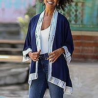 Natural dyes hand woven rayon kimono, 'Indigo Rain' - Natural Indigo and White Open Rayon Kimono Jacket