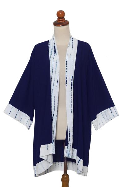Natural Indigo and White Open Rayon Kimono Jacket