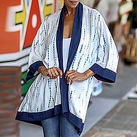 Natural dyes hand woven rayon kimono, 'Tropical Rain' - White and Indigo Blue Rayon Kimono from Bali