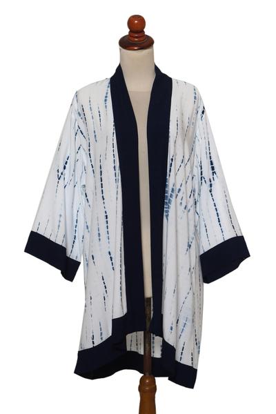 White and Indigo Blue Rayon Kimono from Bali