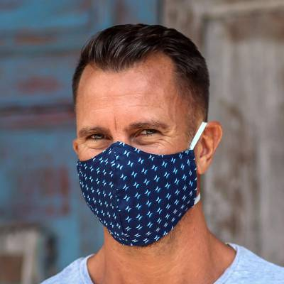 Cotton face masks 'Deep Blue Serenity' (set of 3) - 3 Contoured Dark Blue Small Print Double Cotton Masks