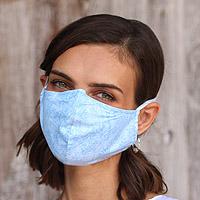 Cotton face masks 'Sky Inspiration' (set of 3) - 3 Filter Pocket Double Cotton Print Masks in Blue Shades