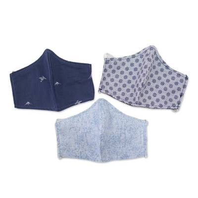 Cotton face masks 'Sky Inspiration' (set of 3) - 3 Filter Pocket Double Cotton Print Masks in Blue Shades