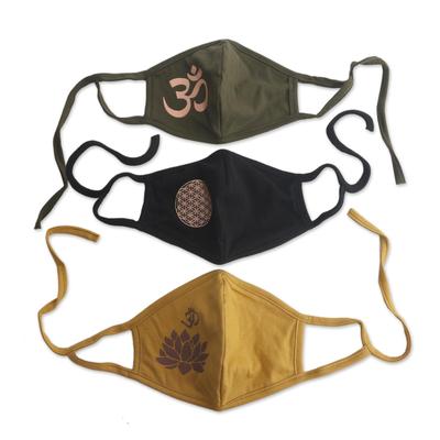 Silkscreen rayon face masks, 'Positive Mantras' (set of 3) - 1 Olive Green-1 Black-One 2-Layer Contoured Rayon Masks