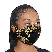 Rayon batik face masks, 'Glowing Golden Ferns' (set of 3) - 3 Artisan Crafted Rayon Batik Face Masks in Yellow on Black