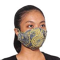 Rayon batik face masks, 'Sunny Island Wind' (set of 3) - 3 Smoky Grey and Citron Yellow Balinese Batik Face Masks