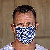 Rayon batik face masks, 'Pleated Blue Batik' (set of 3) - 3 Blue and White Pleated Rayon Batik Face Masks