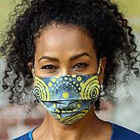 Rayon batik face masks, 'Pleated Sunny Island Wind' (set of 3) - 3 Smoky Grey & Citron Yellow Pleated Batik Face Masks