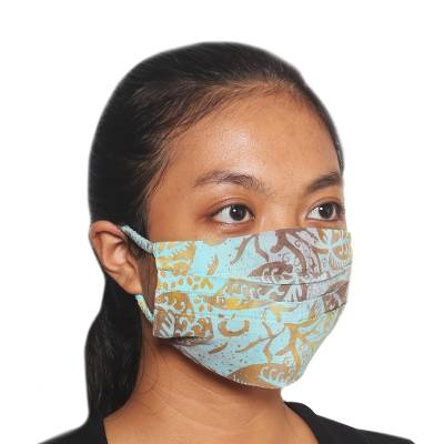Rayon batik face masks, 'Pleated Island Sky' (set of 3) - 3 Balinese Blue and Brown Pleated Rayon Batik Face Masks