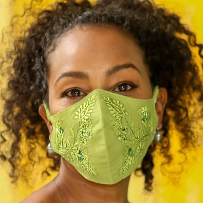 Beaded cotton face masks, 'Glamorous Greens' (pair) - 2 Beaded Embroidered Cotton Face Masks in Green Shades