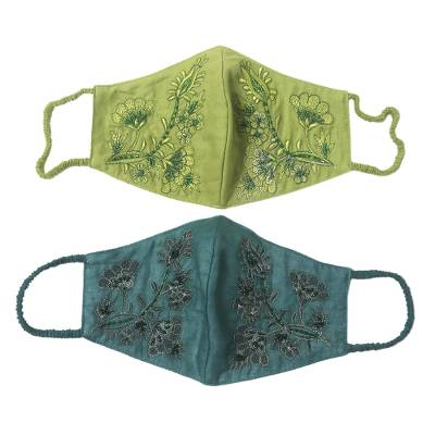 Beaded cotton face masks, 'Glamorous Greens' (pair) - 2 Beaded Embroidered Cotton Face Masks in Green Shades