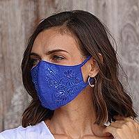 Beaded cotton face masks, 'Glamorous Blues' (pair) - 2 Beaded Embroidered Cotton Face Masks in Blue Shades