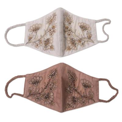 Beaded cotton face masks, 'Glamorous Tan and Ivory' (pair) - 2 Beaded Embroidered Cotton Face Masks in Tan and Ivory