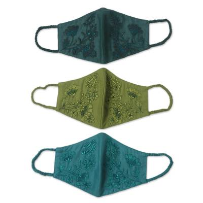 Cotton face masks 'Cool Blossoms' (set of 3) - 3 Green & Turquoise Cotton Masks with Embroidered Flowers