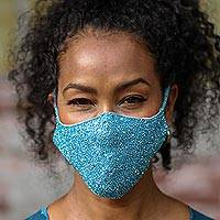 Beaded cotton face masks, 'Glamour Girl' (pair) - 2 Hand Beaded Cotton Contoured Masks in Turquoise and Grey