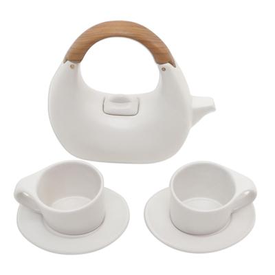 Balinese white tea set
