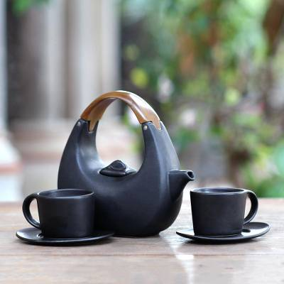 Ceramic tea set, 'Resting Cloud in Black' (set for 2) - Balinese Matte Black Ceramic Tea Set with Teak Handle