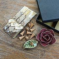 Aromatherapy boxed gift set, 'Burgundy Rose' - Incense and Ceramic Holders Gift Set