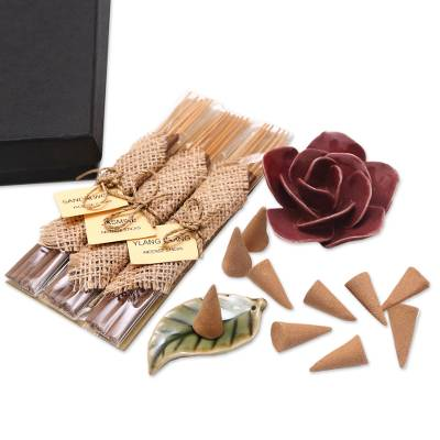Incense and Ceramic Holders Gift Set