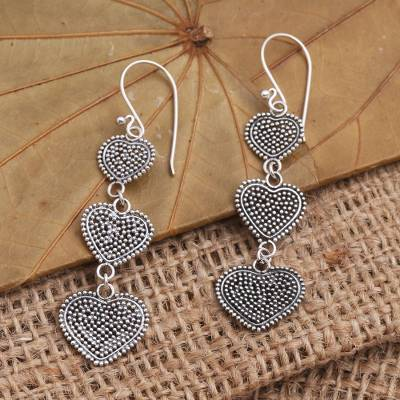 Sterling silver dangle earrings, 'Jawan Hearts' - Sterling Silver Heart Dangle Earrings