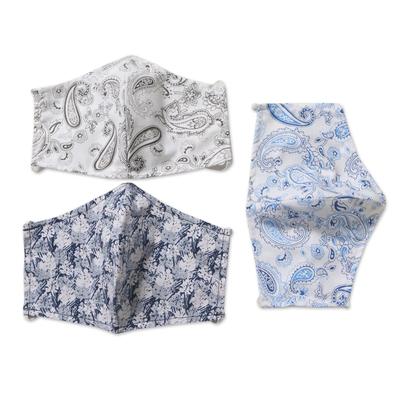 Cotton face masks 'Pretty Prints and Paisley' (set of 3) - 3 Contoured Blue & Grey Print Double Cotton Masks