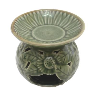 Sunflower Motif Green Ceramic Oil Warmer