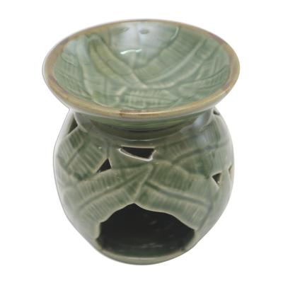 Tropical Theme Green Ceramic Oil Warmer from Bali