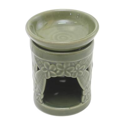 Floral Themed Handmade Ceramic Oil Warmer
