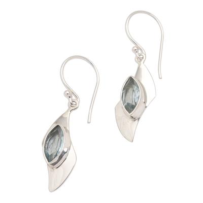 Modern Silver and Blue Topaz Dangle Earrings