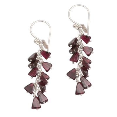 Garnet Bead Sterling Silver Cluster Waterfall Earrings