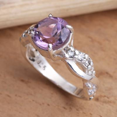 Amethyst solitaire ring, 'Must Be Love' - Amethyst and Quartz Sterling Silver Ring