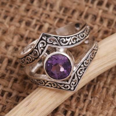 Amethyst cocktail ring, 'Grace and Charm in Purple' - Bezel-Set Amethyst and Sterling Silver Cocktail Ring