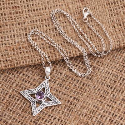 Amethyst pendant necklace, 'Due North' - Four Pointed Star Sterling Silver Amethyst Pendant