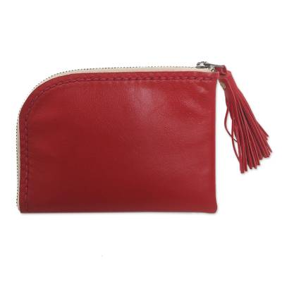 Red Tasseled Leather Wallet with Zipper