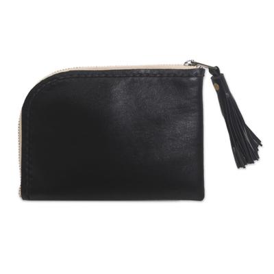 Black Tasseled Leather Wallet with Zipper