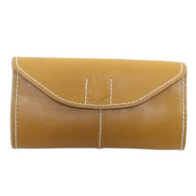Mustard Yellow Leather Wallet with Magnetic Snap Clasp